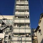 テナントビル改修用足場工事 茨城県水戸市 2016年1月