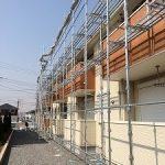 集合住宅太陽光発電用足場工事 茨城県守谷市 2014年4月